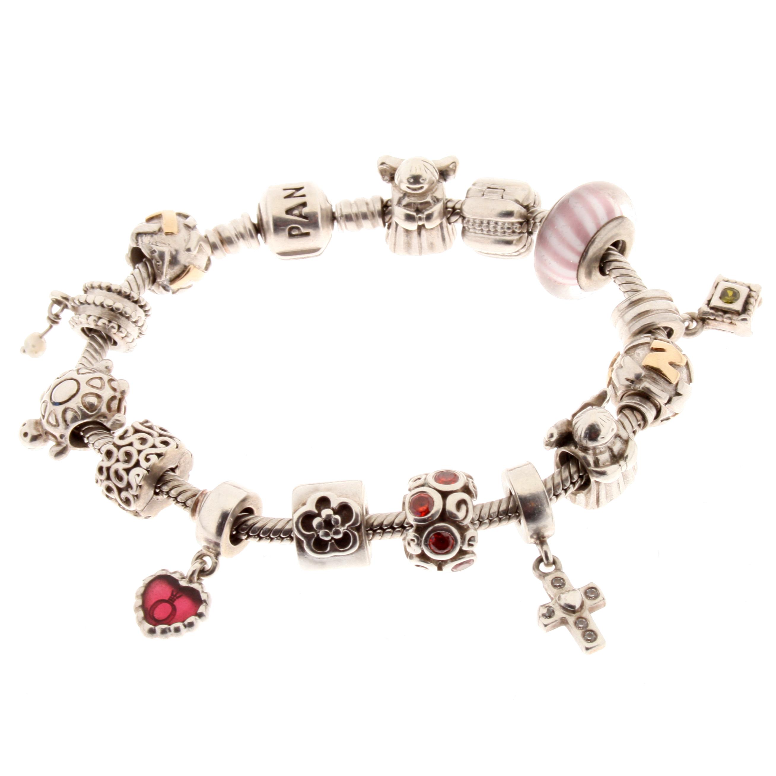 pandora bettelarmband armband mit 14 original charms anh nger
